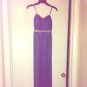 Blue strapless gown w jeweled empire waist